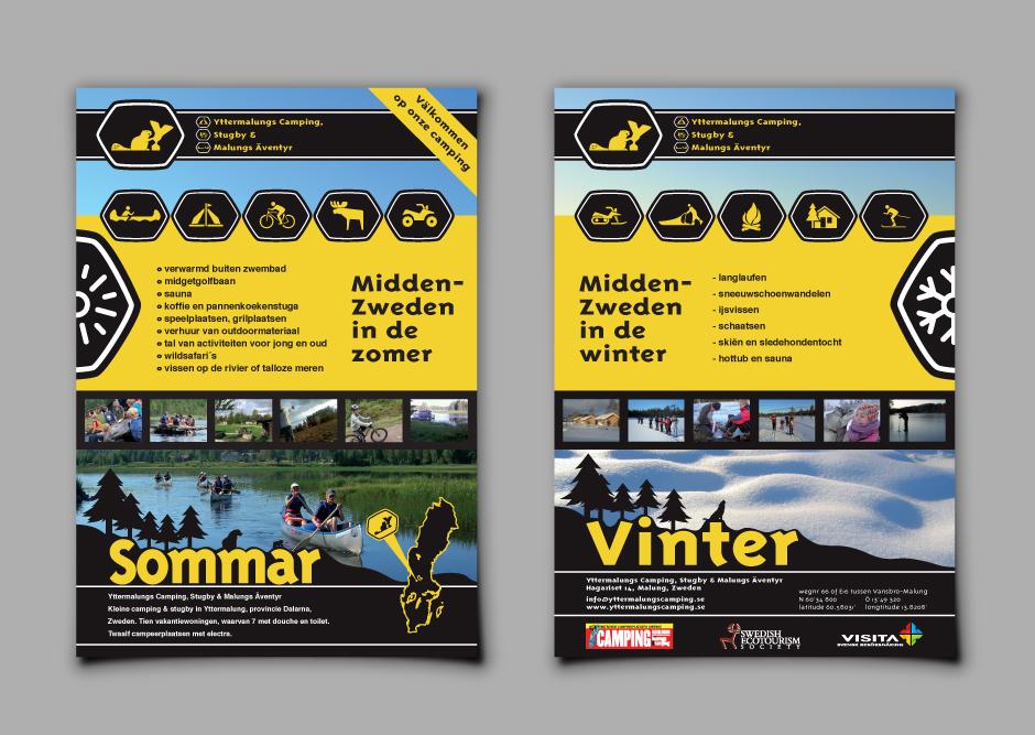 Yttermalungs Camping outdoor buitensport bever logo branding flyers sweden dalarna printing