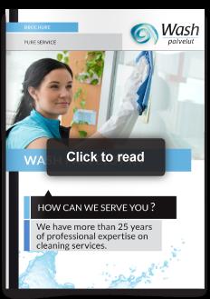 design ontwerp Issuu brochure services diensten schoonmaak Wash Palvelut Oulu Finland
